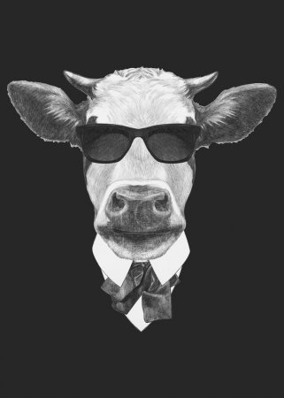 Photo pour Portrait de vache en costume. Illustration dessinée main . - image libre de droit