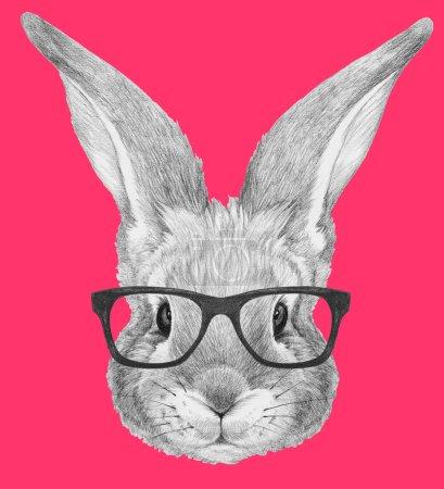Photo pour Portrait de lapin avec des lunettes. Illustration dessinée main . - image libre de droit