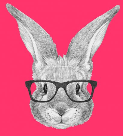Portrait of Rabbit with glasses.