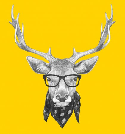Portrait of Deer with glasses and scarf.