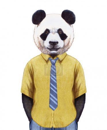 Panda in summer shirt with tie.