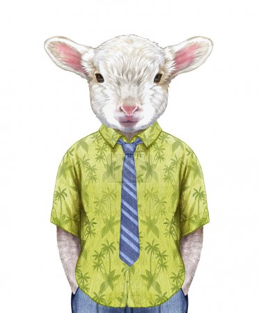 Lamb in a summer shirt with tie.