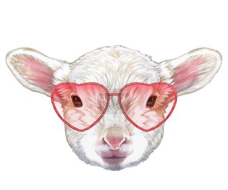 Photo pour Lampe amoureuse ! Portrait de Lampe avec des lunettes de soleil en forme de coeur. Illustration dessinée à la main, couleur numérique . - image libre de droit