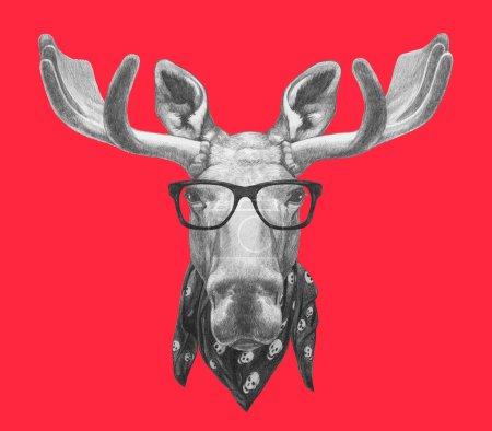 Photo pour Portrait d'orignal avec lunettes et écharpe. Illustration dessinée main . - image libre de droit