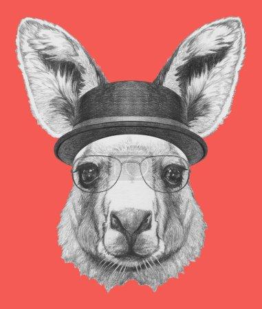 Photo pour Portrait de Kangourou avec chapeau et lunettes. Illustration dessinée main . - image libre de droit