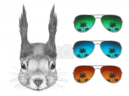 Photo pour Portrait d'écureuil avec des lunettes de soleil miroir. Illustration dessinée main . - image libre de droit