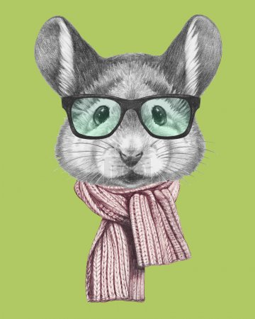 Portrait of Mouse with scarf and glasses