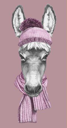 Photo pour Portrait d'âne avec chapeau et écharpe. Illustration dessinée main . - image libre de droit