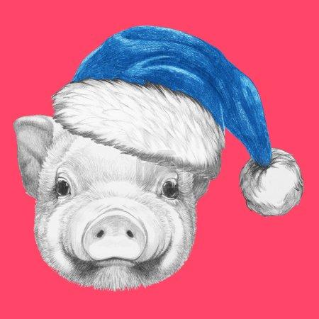 Photo pour Portrait de cochon avec chapeau de Père Noël. Illustration dessinée main . - image libre de droit