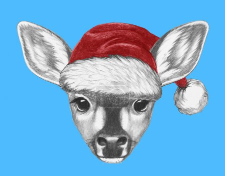 Portrait of Fawn with Santa Hat
