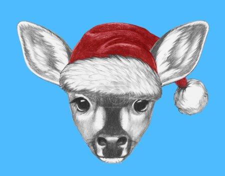 Photo pour Portrait de fauve avec chapeau de Père Noël. Illustration dessinée main . - image libre de droit