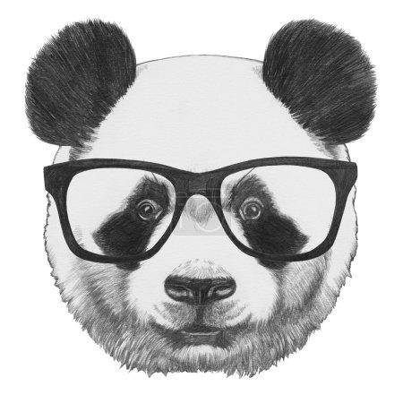 Original drawing of Panda with glasses
