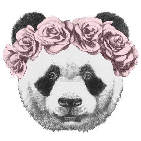 Original drawing of Panda with roses