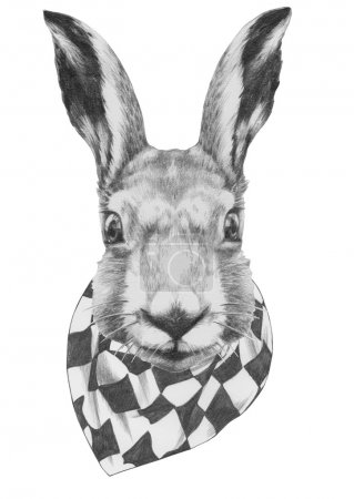 Photo for Original drawing of Rabbit with scarf. Isolated on white background - Royalty Free Image