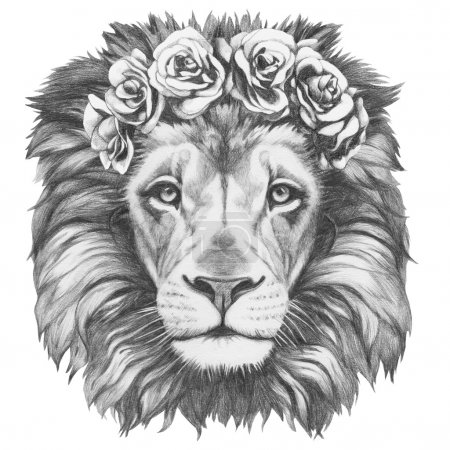 Lion with floral head wreath