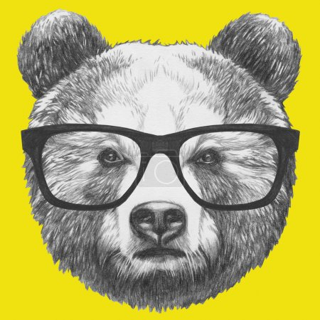 Original drawing of Bear with glasses