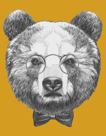 Bear with glasses and bow tie