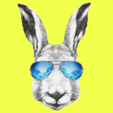 Photo for Portrait of Hare with mirror sunglasses. Hand drawn illustration - Royalty Free Image