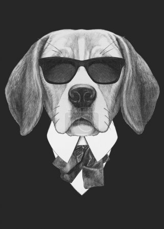 Portrait of Beagle dog in suit