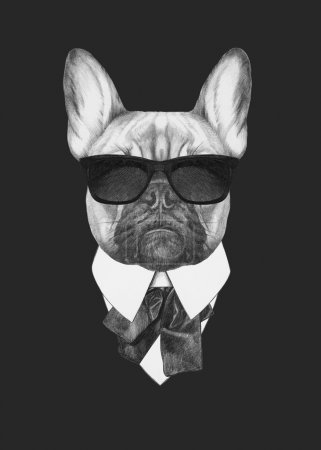 Portrait of French Bulldog in suit