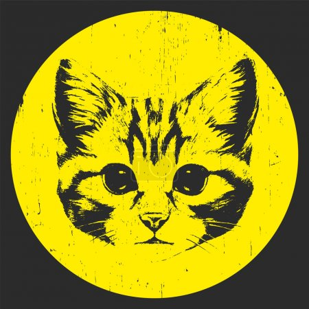 Illustration for Print drawing of Cat, Hand-drawn illustration. T-shirt design. Vector - Royalty Free Image