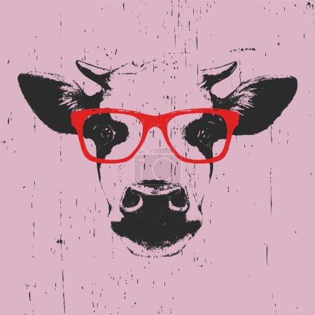 Illustration pour Dessin imprimé de vache, lunettes - image libre de droit