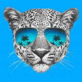 Hand drawn portrait of Leopard with mirror sunglasses Vector isolated elements