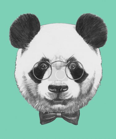 Panda with glasses and bow tie