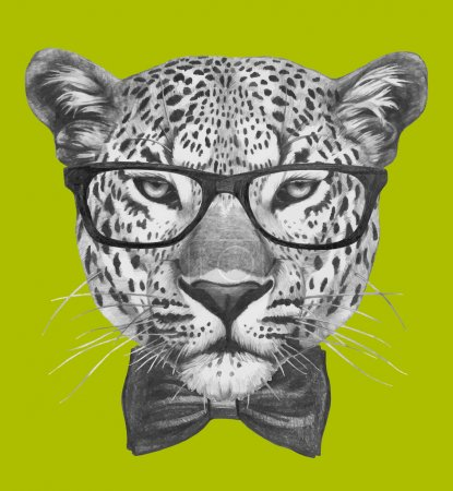 Leopard with glasses and bow tie