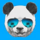 Panda with mirror sunglasses