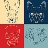 Set of icons with animals