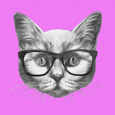 portrait of Cat with glasses