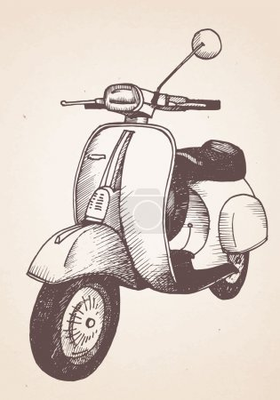 Hand drawn retro scooter