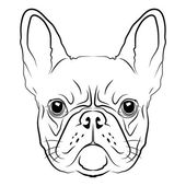 French Bulldog head logo or icon in white for a mascot and T-shirt graphic