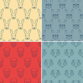 Set of seamless patterns with animals