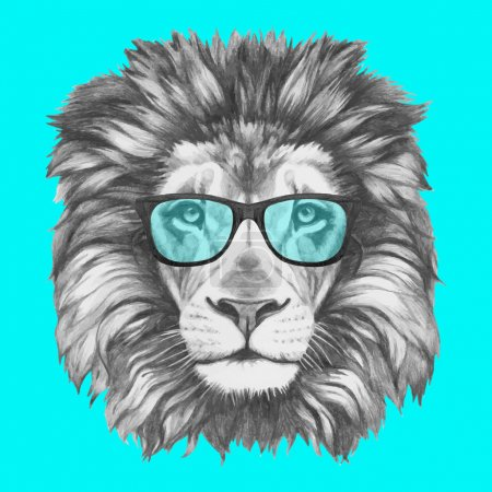 portrait of Lion with glasses