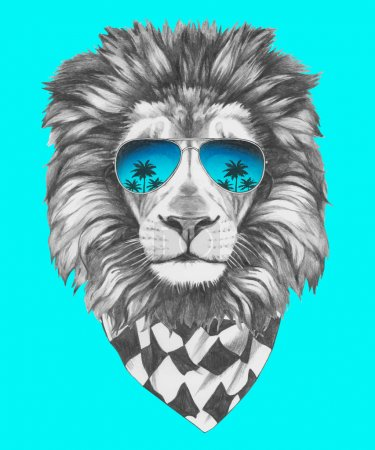 Lion with mirror sunglasses and scarf