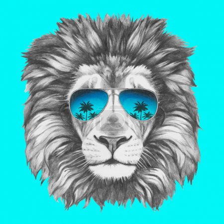 Illustration for Hand drawn portrait of Lion with sunglasses. Vector isolated elements. - Royalty Free Image