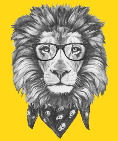 Lion with glasses and scarf