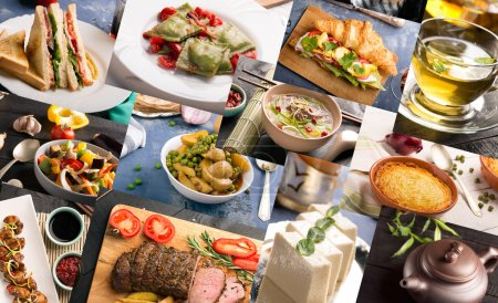 Photo for Cuisine of different countries. Varied dishes prepared form meat or vegetables - Royalty Free Image