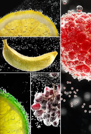 Photo for Fresh fruits into the soda. Photo collage on the black. - Royalty Free Image
