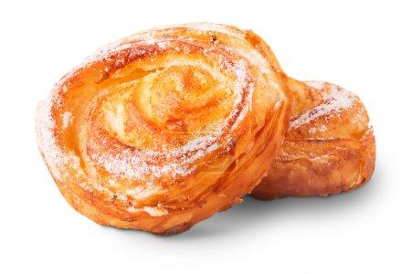 Freshly baked delicious sweet buns isolated white ...