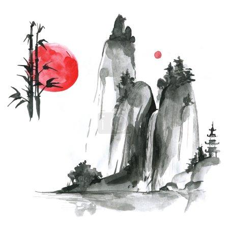sumi-e elements: landskype, sun, bamboo