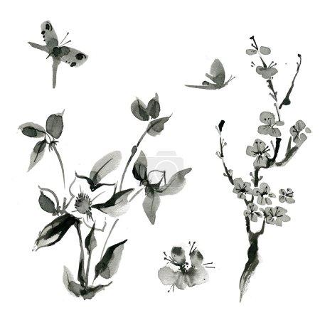 Photo pour Les plantes orientales traditionnelles: sakura; cerise; cynorrhodon, dessinés à la main d'encre sumi-e. Papillon. - image libre de droit