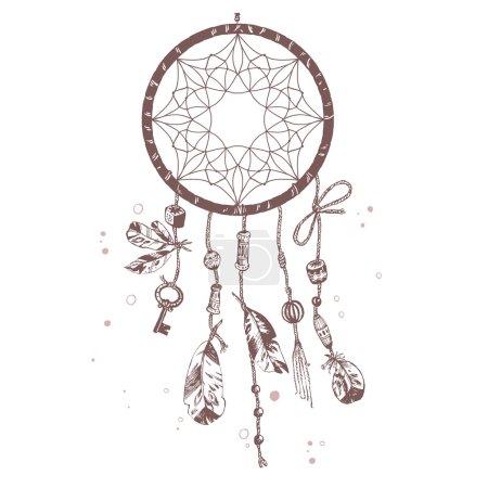 Illustration pour Vecteur dessiné à la main Amérindien talisman dreamcatcher avec des plumes d'oiseau et des perles. Design ethnique, boho chic, symbole tribal. Illustration isolée . - image libre de droit