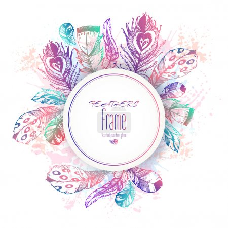 Hand drawn vector painted round template with bird...