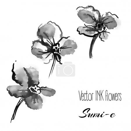 Illustration for Vector hand drawn sumi-e traditional elements. violets and pansies - Royalty Free Image
