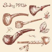 Hand drawn smoking pipes