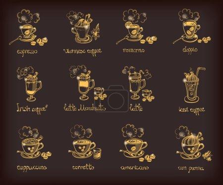 Illustration pour Ensemble de doodle vectoriel avec différents types de café : espresso ; viennois ; romano ; doppio ; irlandais, latte, macchiato, glacé, cuppuccino, corretto, americano, con panna . - image libre de droit