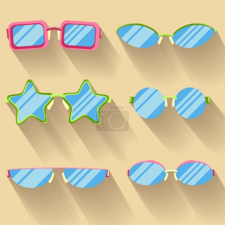 Collection of colored flat glasses with long shado...